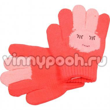 """Перчатки с орнаментом для девочки """"Зайчик"""" (коралл), 2-4 лет"""