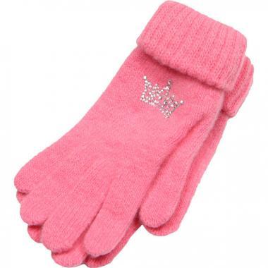 """Зимние перчатки ACCESSORIES для девочки """"Корона"""" (розовые), 8-16 лет"""