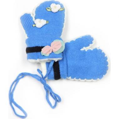 """Теплые зимние варежки для девочки """"Цветы"""" (голубые), 1-3 года"""