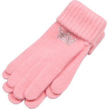 """Зимние перчатки ACCESSORIES для девочки """"Корона"""" (светло-розовые), 8-16 лет"""