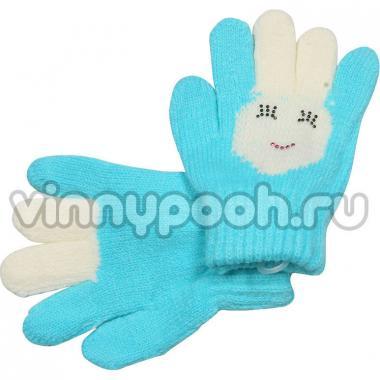 """Перчатки с орнаментом для девочки """"Зайчик"""" (голубой), 2-4 лет"""