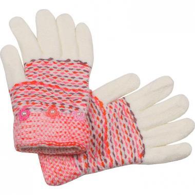 Перчатки с МАРИЯ с бусинками для девочки (белый), 7-10 лет