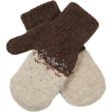 Зимние варежки Glopia для девочки Снежинки (кофе/бежевый), 2-3 года