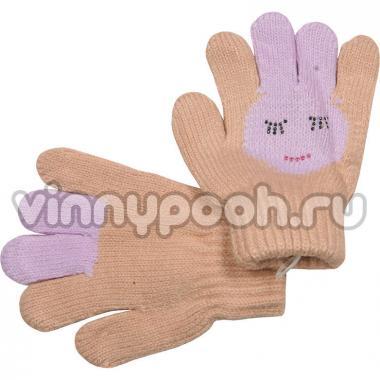 """Перчатки с орнаментом для девочки """"Зайчик"""" (бежевый), 2-4 лет"""