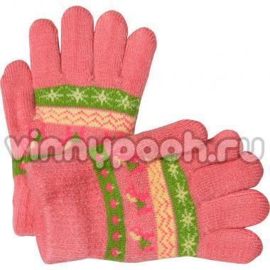 """Перчатки с орнаментом для девочки """"Лошадка"""" (персиковый), 2-4 лет"""