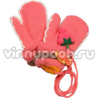 """Теплые зимние варежки для девочки """"Цветы"""" (персик), 1-3 года"""