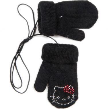 """Зимние варежки для девочки """"Китти"""" (черные), 1-3 года"""