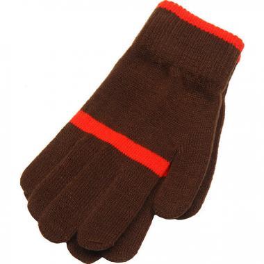 Зимние перчатки Snovia для девочки с полосой (коричневые), 8-13 лет