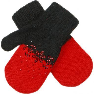 Зимние варежки Glopia для девочки Снежинки (черный/красный), 2-3 года