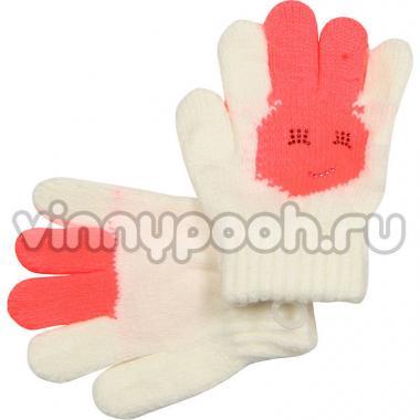 """Перчатки с орнаментом для девочки """"Зайчик"""" (молочный), 2-4 лет"""