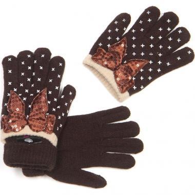 Зимние двойные перчатки для девочки с бантиком (коричневые), 3-8 лет