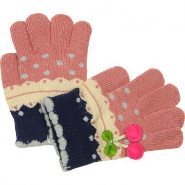 """Перчатки с орнаментом для девочки """"Вишенка"""" (гр.розовый), 4-7 лет"""
