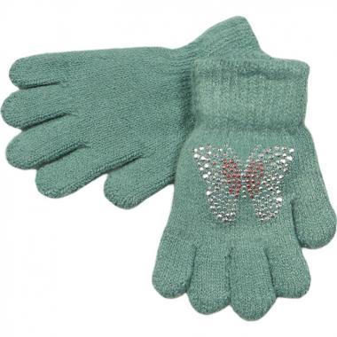 Перчатки МАРИЯ для девочки БАБОЧКА (зеленые), 2-9 лет