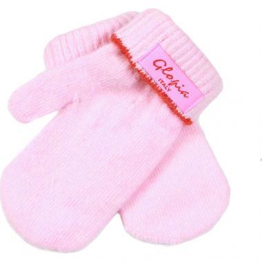 Зимние варежки Glopia для девочки однотонные (розовые), 1-6 лет