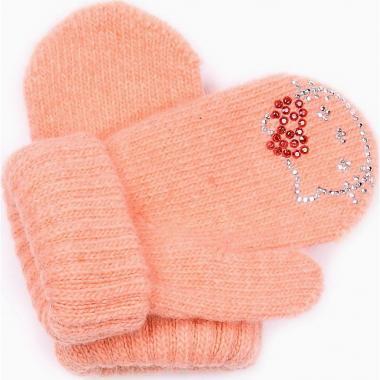 "Зимние варежки для девочки ""Китти"" (персик), 1-3 года"