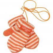 Зимние варежки Glopia для мальчика в полоску (оранжевые), 0,5-1 год