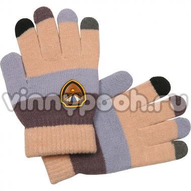 Перчатки Vacss для мальчика в полоску (бежевый/кофе), 4-7 лет