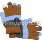 Перчатки Vacss для мальчика в полоску (кофе/серый), 4-7 лет