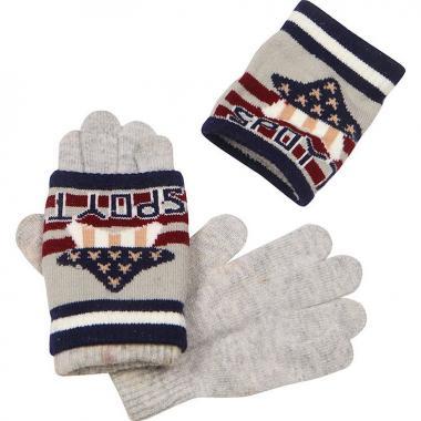 Зимние двойные перчатки для мальчика (серые), 3-6 лет
