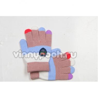 Перчатки Vacss для мальчика в полоску (бежевый/белый), 4-7 лет
