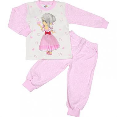 Хлопковая пижама Sleppy для девочки (белый/розовый), 2-5 лет