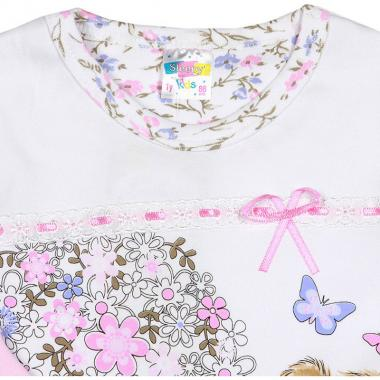 Хлопковая пижама Sleppy для девочки (белый/розовый), 1-5 лет