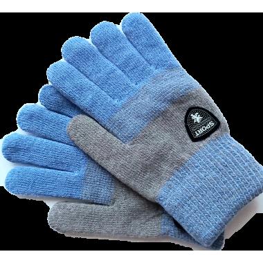 Зимние перчатки для мальчика DOCTOR (серый/голубой), 8-12 лет