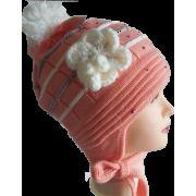 Зимняя шапка AGUTI для девочки с цветком (коралл), 4-6 лет