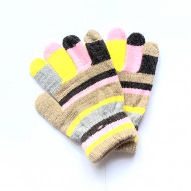 Перчатки КОРОНА разноцветные для девочки (розовый/серый), 2-4 лет