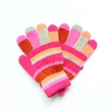 Перчатки КОРОНА разноцветные для девочки (розовый), 2-4 лет