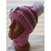 Зимняя шапка AGUTI для девочки с пряжкой (т.розовый/белый), 3-6 лет