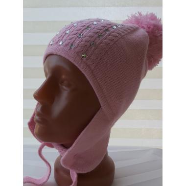 Зимняя шапка AGUTI для девочки СТРАЗЫ (розовый), 5-8 лет