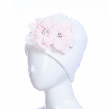 Зимняя шапка HILLTOP для девочки Цветы (белый/розовый), 6-9 лет