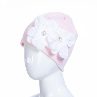Зимняя шапка HILLTOP для девочки Цветы (бледно-розовый), 6-9 лет