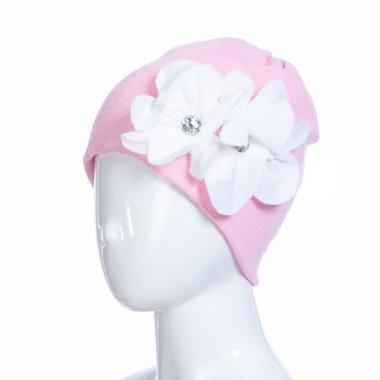 Зимняя шапка HILLTOP для девочки Цветы (розовый/белый), 6-9 лет