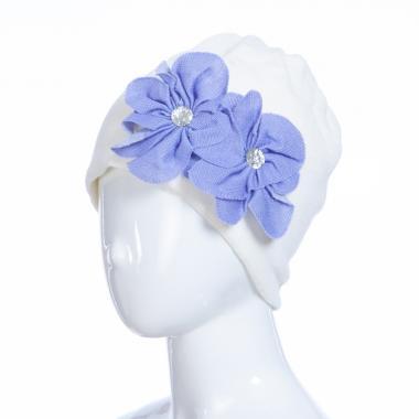 Зимняя шапка HILLTOP для девочки Цветы (бежевый/сирень), 6-9 лет