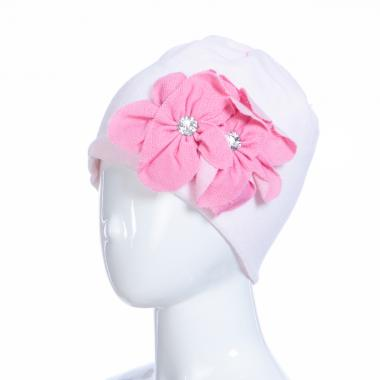 Зимняя шапка HILLTOP для девочки Цветы (розовый/темно-розовый), 6-9 лет