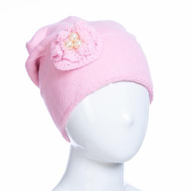 Зимняя шапка AGUTI для девочки ЦВЕТОК (розовый), 6-9 лет
