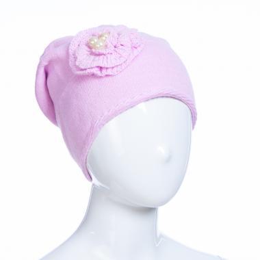 Зимняя шапка AGUTI для девочки ЦВЕТОК (сиреневый), 6-9 лет
