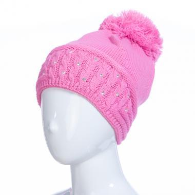 Зимняя шапка AGUTI для девочки КОСЫ (темно-розовый), 6-9 лет