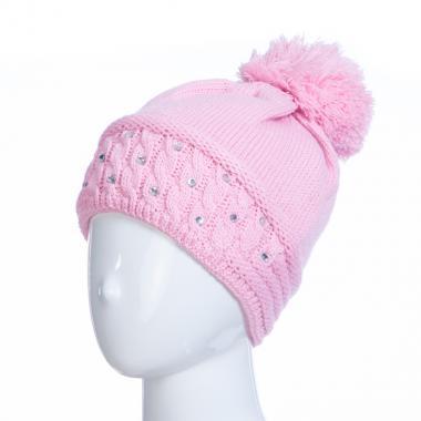 Зимняя шапка AGUTI для девочки КОСЫ (розовый), 6-9 лет
