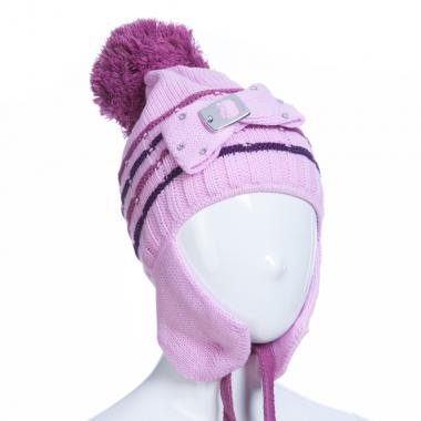 Зимняя шапка AGUTI для девочки с пряжкой (сиреневый/брусника), 3-6 лет