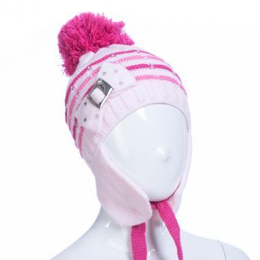 Зимняя шапка AGUTI для девочки с пряжкой (розовый/малина), 3-6 лет