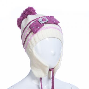 Зимняя шапка AGUTI для девочки с пряжкой (бежевый/брусника), 3-6 лет