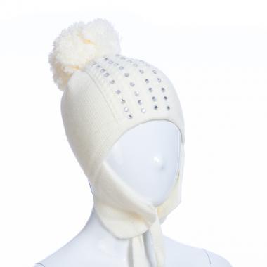 Зимняя шапка AGUTI для девочки СТРАЗЫ (бежевый), 5-8 лет