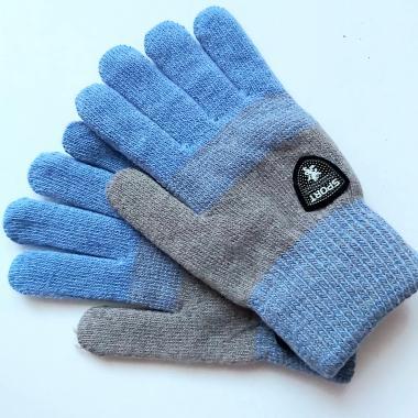 Теплые перчатки для мальчика VACSS (серый/голубой), 8-12 лет