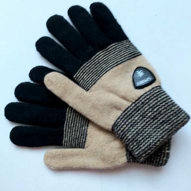 Теплые перчатки для мальчика VACSS (черный/бежевый), 8-12 лет