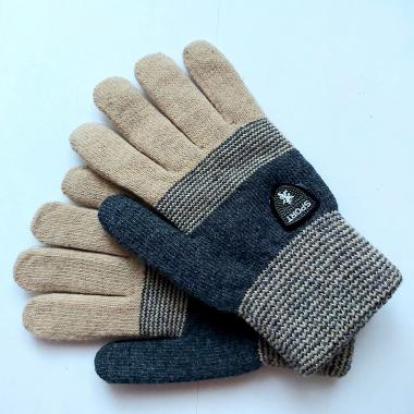 Теплые перчатки для мальчика VACSS (серый/бежевый), 8-12 лет