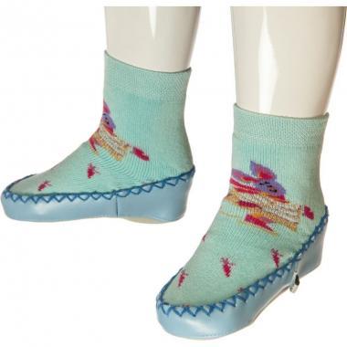 Носки-тапочки для девочки Pattino Kids с рисунком (голубые), 4-5 лет