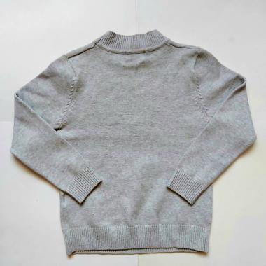 Свитер для девочки с рисунком (серый), 6-10 лет